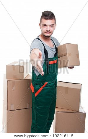 Mover Guy Holding Cardboard Box Offering Hand Shake