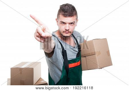 Mover Guy Holding Cardboard Box Showing Denial Gesture