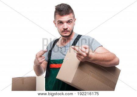 Mover Guy Holding Cardboard Showing Obscene Gesture