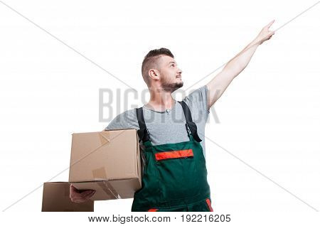 Low Angle Mover Guy Holding Cardboard Box Pointing Up