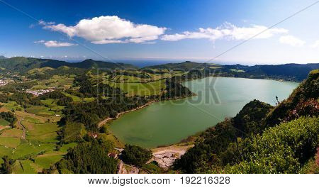 Aerial view to Furnas lake in Sao Migel Azores Portugal