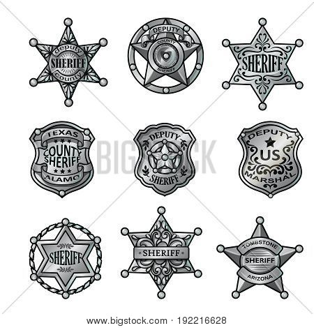 Silver sheriff badges collection of western stars shields and emblems with letterings isolated vector illustration