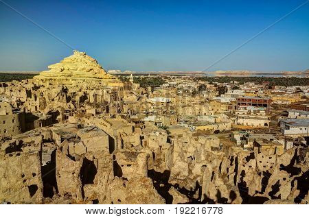 Panorama of old city Shali and mountain Dakrour in Siwa oasis Egypt