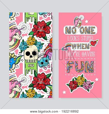 Cartoon vertical cards with typographic quote on pink background animals and skull in flowers isolated vector illustration