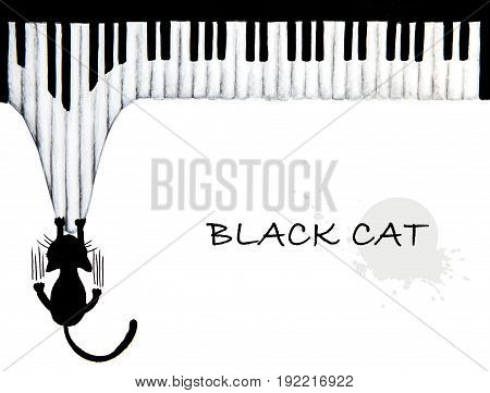 Hand drawn of Black cat scratching piano - animal abstract