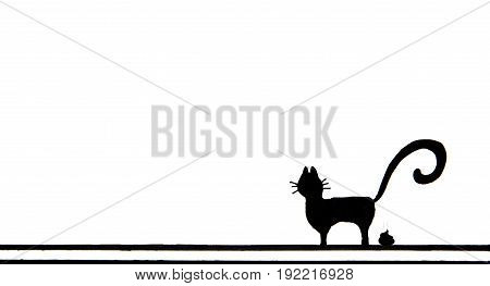 Hand drawn of Black cat defecating on white background