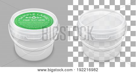 Labeled transparent empty plastic bucket for storage of food honey or ice cream. View from above. Vector packaging mockup illustration.