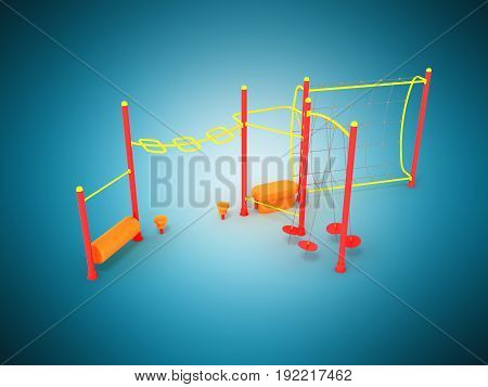 Playground 3d render on blue background close up