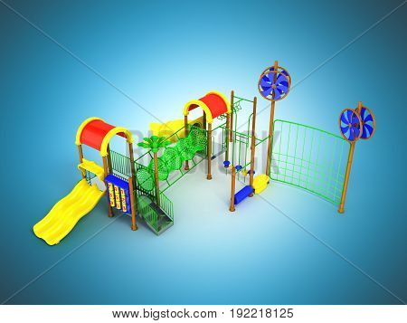 Children's Motley Playground Green 3D Render On A Blue Background