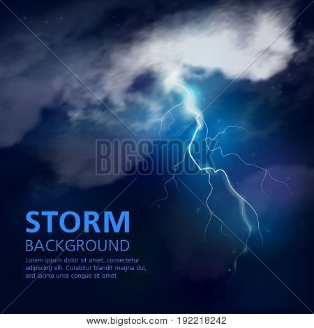 Night storm background in blue white tones with accumulation of illuminated clouds flash of lightning vector illustration