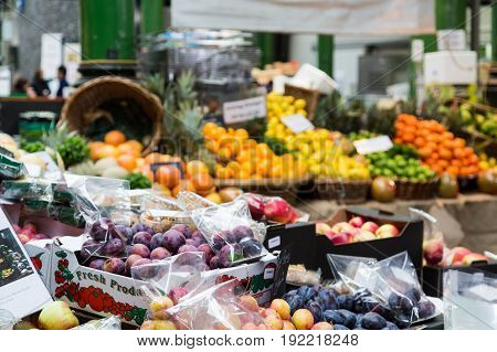 Assorted fresh fruit in a London market