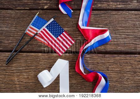 American flags and various ribbons arranged on table