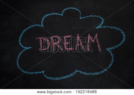 Blue cloud and red dream word drawn, written with chalk on blackboard