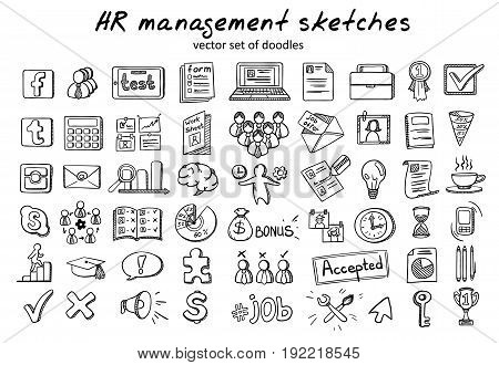 Doodle staff recruitment elements collection with business planning career management and human resources icons isolated vector illustration
