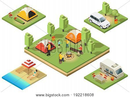 Isometric camping territory composition with relaxing people sunbathing tents food cooking car backpack traveling trailer isolated vector illustration