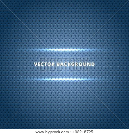 Abstract Carbon fiber surface with blue light technology dots background. Vector illustration