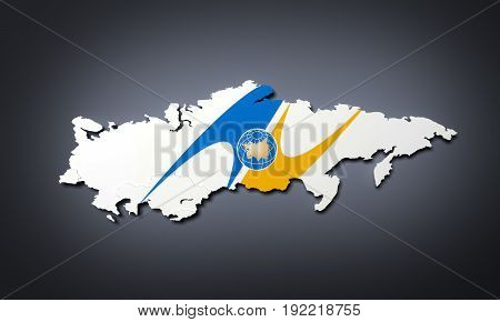 Schematic Map Of The Member States Of Eurasian Economic Union (eau) National Flags Russia Belarus Ka