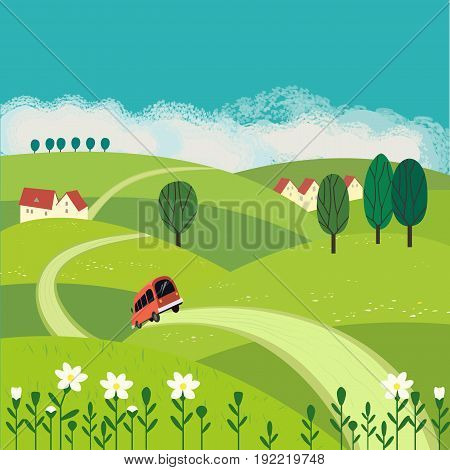 Green Landscape Freehand Drawn Cartoon Outdoors Style Farm Houses Country Winding Road On Meadows