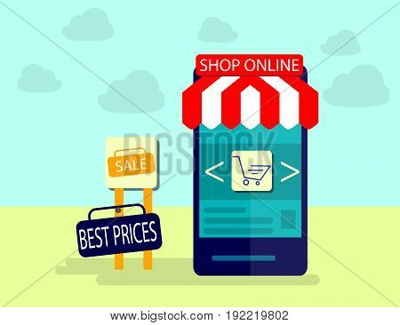 Modern Concept of Purchasing Product Via Internet Mobile Shopping Communication and Delivery Service. Flat design. Vector Illustration