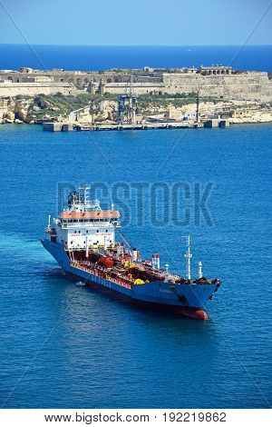 VALLETTA, MALTA - MARCH 30, 2017 -  Elaura Go Fuels oil tanker in the grand harbour Valletta Malta Europe, March 30, 2017.
