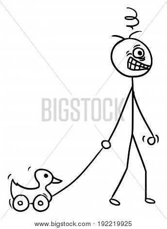 Cartoon vector doodle crazy mad stickman pulling plastic duck