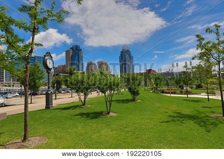 The Cincinnati  skyline from Smale Riverfront Park along the Ohio River.