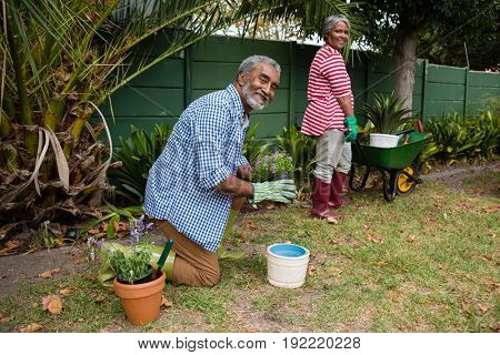 Portrait of senior couple working together in backyard