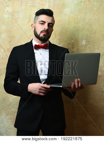 Boss With Neat Beard, Hairstyle And Confident Or Proud Face