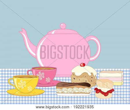 an illustration of an afternoon tea spread with pink teapot two cups of tea and cream buns on a gingham tablecloth