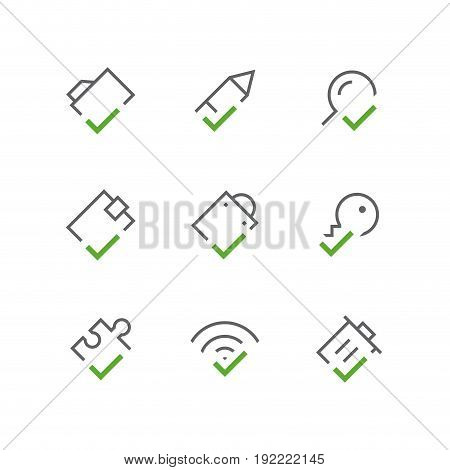 Bold checkmark outline vector icon set - folder, pencil, search, wallet, package, key, puzzle, wi fi and trash can with tick or checkbox symbols. Contacts, business and internet signs.