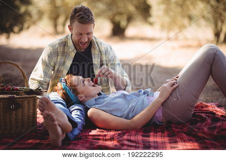 Cheerful young man feeding strawberry to woman at farm