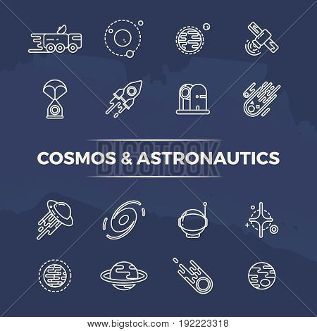 Cosmos and astronautics line icons - planets, space, rockets line concept. Science icons of set illustration