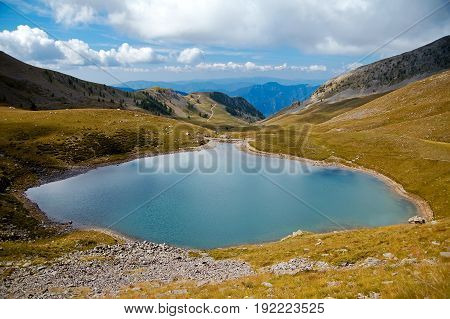 Mountain lake located in the southern France Alps/