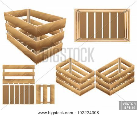 Set Of Wooden Box. For Fruits And Vegetables. Texture. Isolated On White Background.