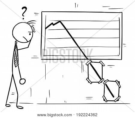 Cartoon vector doodle stickman looking at wall graph with extremly low values