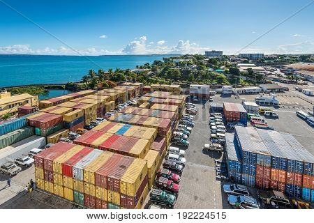 Antsiranana Madagascar - December 20 2015: Wide-angle view of containers in the port of Antsiranana (Diego Suarez) north of Madagascar Africa.