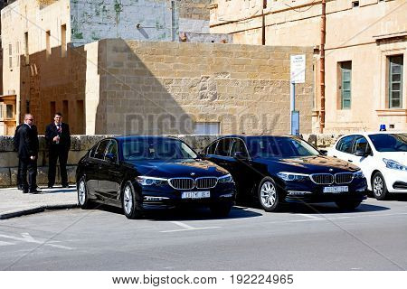 VALLETTA, MALTA - MARCH 30, 2017 - Limousines outside the Mediterranean Conference Centre Valletta Malta Europe, March 30, 2017.