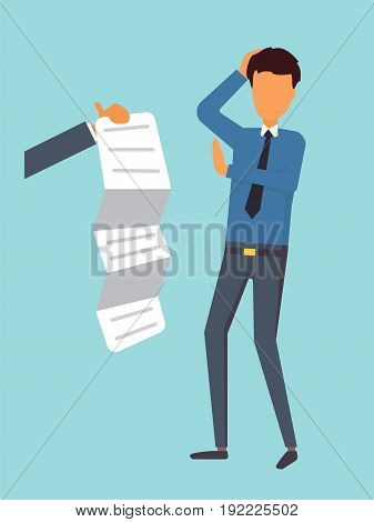 Loan credit contract. Bill payment. Debts business concept. Man refusing to pay, vector illustration