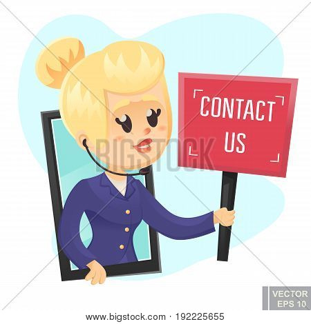 Call Center Help Design Beautiful Funny Woman Holding Sign Contact Us Vector Cartoon Illustration