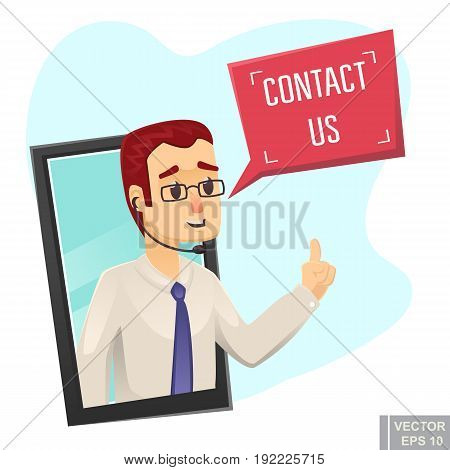Call Center Help Design Young Funny Man Asking To Contact Us Vector Cartoon Illustration