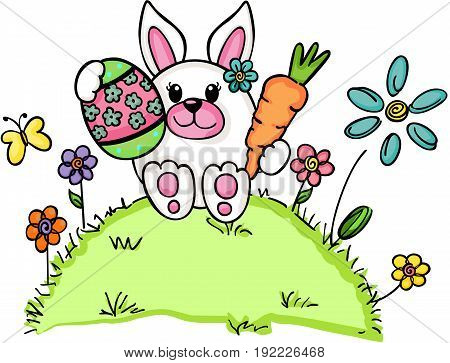 Scalable vectorial image representing a cute Easter bunny, isolated on white.