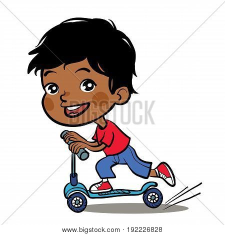 Cool vector concept illustration on little indian boy having fun outside. Happy small indian boy riding kick scooters outdoors.