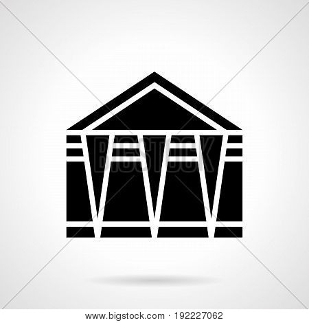 Abstract monochrome symbol of folding event marquee. Trade tents and other structures. Symbolic black glyph style vector icon.