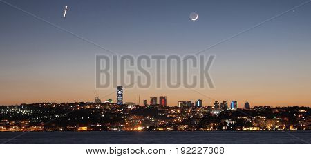 Night Sky (dawn) with new moon in Istanbul