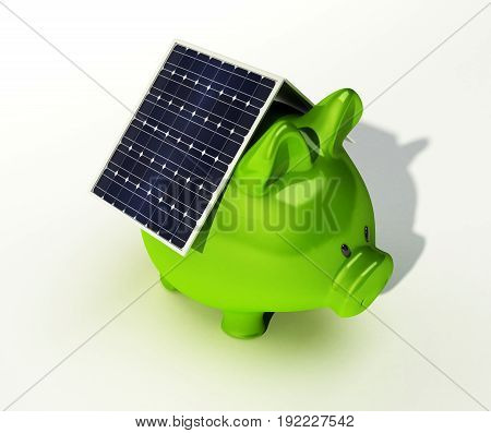 A solar cell is on a pink piggy bank isolated on white background
