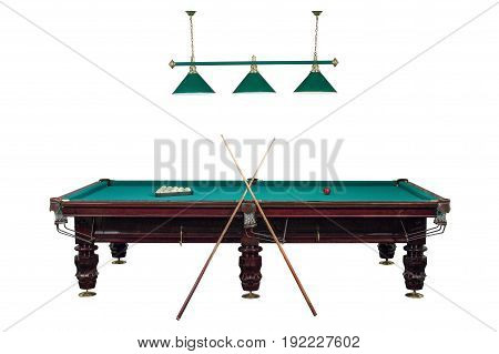 pool table with balls and cues isolated on white background