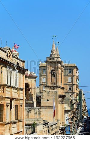 VALLETTA, MALTA - MARCH 30, 2017 - St Augustine Church along Old Bakery Street Valletta Malta Europe, March 30, 2017.
