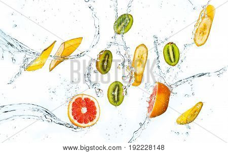 Abstract background with tropical fruits in water drops isolated on white