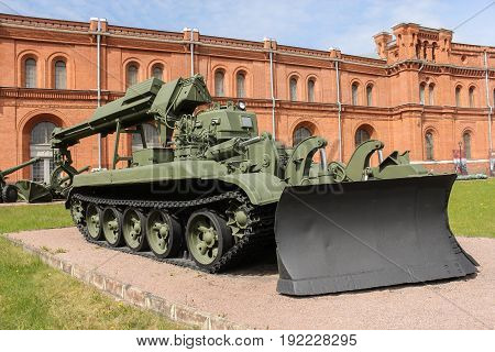 St. Petersburg Russia - 28 May, Engineering military machine of the IMR gates, 28 May, 2017. Military History Museum of combat equipment in St. Petersburg.