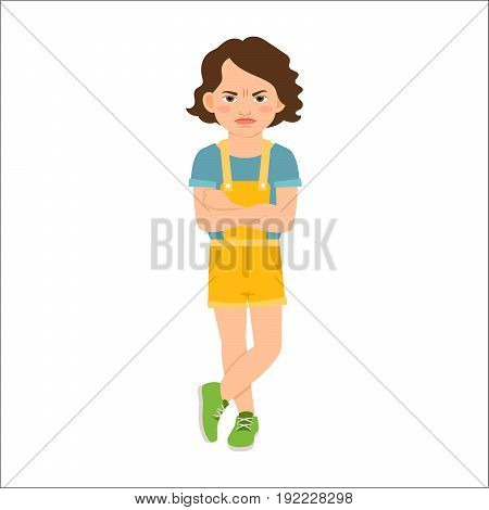 Angry girl in blue shirt isolated vector illustration on white background